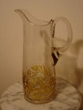 EAPG Hobbs Brockunier Leaf & Flower Amber Stained Floral Design Tankard Pitcher