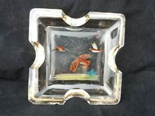 Antique Reverse Painted bird Glass Dish with gold Edging