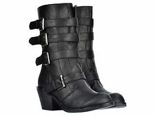 ROCKET DOG ROLLIN CLASSIC LEATHER LOOK ZIP BIKER GOTH BUCKLE BOOTS SIZES 3-8 NEW