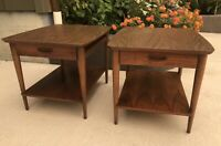 Pair of LANE Mid Century Modern Walnut End Side Tables Style # 1038 05
