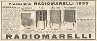 Y2073 Radio Marelli - Aedo - Argeste - Pubblicità del 1933 - Old advertising