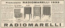 Y2073 Radio Marelli - Aedo - Argeste - Pubblicità del 1933 - Old advertising