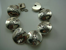 "STUNNING FUN BRIGHTON OPEN CUT SCROLLED DOMED CIRCLES 7 1/2"" BRACELET W SAFETY"