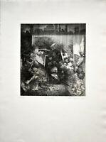 Volker Stelzmann: Black out. 1977. Signierte Original-Radierung.