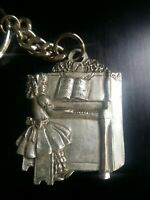 Vintage Pewter Girl Piano Keychain Signed Seagull Canada 1992 Etain Zinn