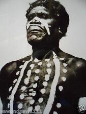 ANTIQUE VINTAGE OLD PHOTO POSTCARD ABORIGINAL MAN FULL WAR PAINT NOSE BONE
