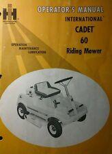 International Ih Cadet 60 Riding Lawn Mower Tractor Operators Manual 20pg V60