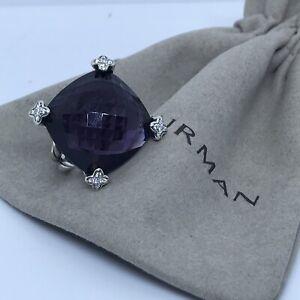 David Yurman 925 Silver 20mm Cushion on Point amethyst & Diamond Ring Sz6