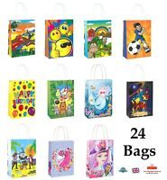 24 x PRINTED PAPER PARTY BAGS WITH HANDLE Birthday Loot Bag Gift Sweets Filler