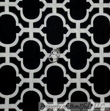 BonEful Fabric FQ Cotton Quilt Black White B&W Gray Damask Cross Stripe Gothic L
