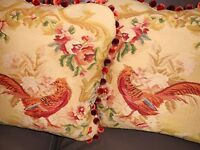 Throw pillows vintage Needlepoint petit point bird floral design Custom PAIR