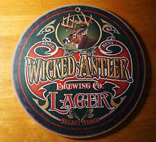 WICKED ANTLER LAGER Deer Buck Hunter Lodge Hunting Cabin Brewery Decor Bar SIGN
