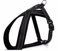Dog Harness-Fleece Padded Reflective Nylon Pet Harness (Extremely Soft) BLACK