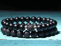 Set Silver Beaded Stretch Bracelet Black Matte Onyx Lava Stone Men Woman 7.5