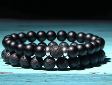 Set Silver Beaded Stretch Bracelet Black Matte Onyx Lava Stone Men Woman 7.5