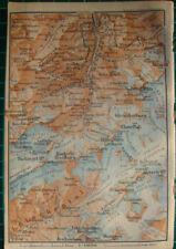 Mittaghorn Lauterbrunnen-Thal Wengen Lötschental Antique map karte 1909 carte