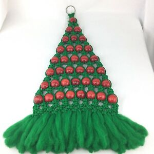 """Macrame Christmas Tree Wall Hanging Green With Red Beads 30"""" Long Xmas Vintage"""