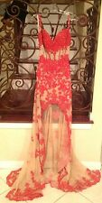 NEW SHERRI HILL 21161 RED NUDE LACE LONG FORMAL EVENING PAGEANT DRESS GOWN 10