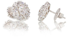 High End Old European Cut CZ Antique Style Cluster Stud Earrings 3.40 Cts 14KWG