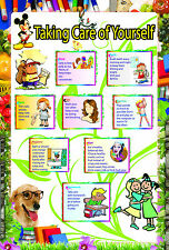laminated TAKING CARE YOURSELF educational teaching school type poster for kids