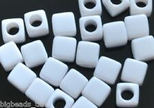 40pcs Perline in Acrilico Cubo Bianco 7 mm