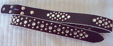 NEW L Large Black Leather Rhinestone Silver Stud Western Cowboy Girl SNAP Belt