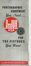 DeJur Photographic Equipment Catalog Photography Vintage