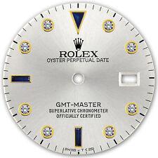 Rolex GMT Master 2 Tone Silver Color Serti Diamond Sapphire Accent Dial