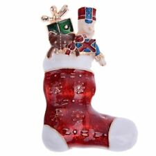 *UK* Gold Christmas Red Stocking With Presents Gifts Brooch Pin Xmas Nutcracker