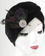 Black Velvet Silver Diamante Feather Turban Headpiece 1920s Vintage Flapper 477