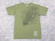 Men's T & C Surf Designs Hawaii Olive Green Graphic T-Shirt / Dragon / Size L