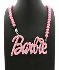 """WOMENT'S ACRYLIC PINK BLING BARBIE PENDANT & 8mm 18"""" BEAD CHAIN FASHION NECKLACE"""