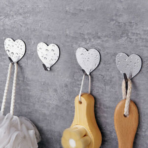 10PC Self  Adhesive Heart Hooks Stainless Steel Strong Sticky Stick on Wall Door