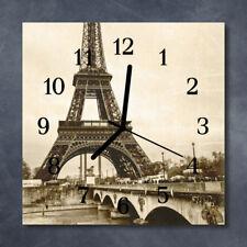 Glass Wall Clock Kitchen Clocks 30x30 cm silent Paris Grey