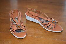 Women's Orange & White LifeStride Wedge Sandals - Size 7.5