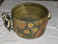 Weller Woodcraft Art Pottery Jardiniere Planter with  Woodpecker Mushroom Large