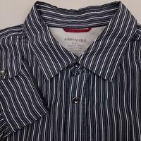 Banana Republic Men's Pearl Snap Western Shirt Size Large Slim Fit Striped Gray