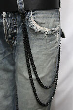 Men Black Long Wallet Chains Metal Links KeyChain Jeans 2 Strands Chunky Biker