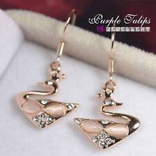 18CT Rose Gold Plated Created Opal Swan Dangle Earrings Made With Swarovski