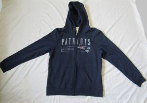 New England Patriots Hoodie Sweatshirt Full Zip Hooded Long Sleeve XL Adult New