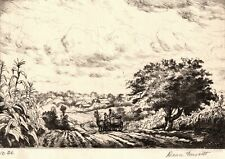DEAN FAUSETT Original Signed Etching - Rural Landscape, Horse and Carriage, Corn