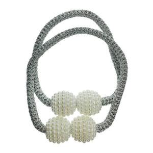 2Pcs Pearl Magnetic Curtain Voile Tiebacks Ties Backs Buckle Clips Holdbacks
