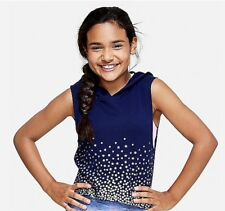 NWT JUSTICE Girls Size 8 10 12 14/16 Navy w/ Silver Stars Sleeveless Hoodies
