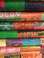 Indian Silk Sari Kantha Throw Blanket Patchwork Quilt Ralli Gudari Vintage Art