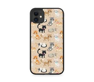 Stylish Cat Design Rubber Phone Case Colourful Kids Childrens Cats Kittens F013