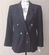 PENDLETON Womens Blazer Coat Jacket  Work 100% Virgin Wool Black Sz 8 Petite NWT