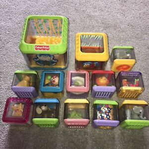 Fisher Price Peek a Boo Blocks Sensory Learning FP Toys Play Cubes Toddler Baby