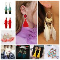 New Women Bohemian Earrings Long Tassel Fringe Boho Dangle Earrings Jewelry Gift