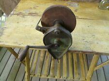 OLD VINTAGE HAND CRANK (CLAMP ON) BENCH STONE GRINDER
