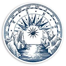 2 x 10cm Vintage Compass Vinyl Stickers - River Ocean Wild Laptop Sticker #31495